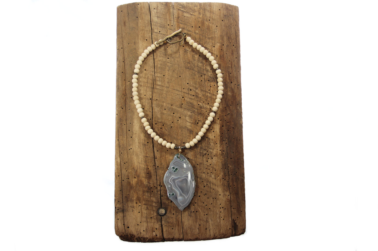 Sale Geode Slice Necklace - Small Grey Speckled Pendant
