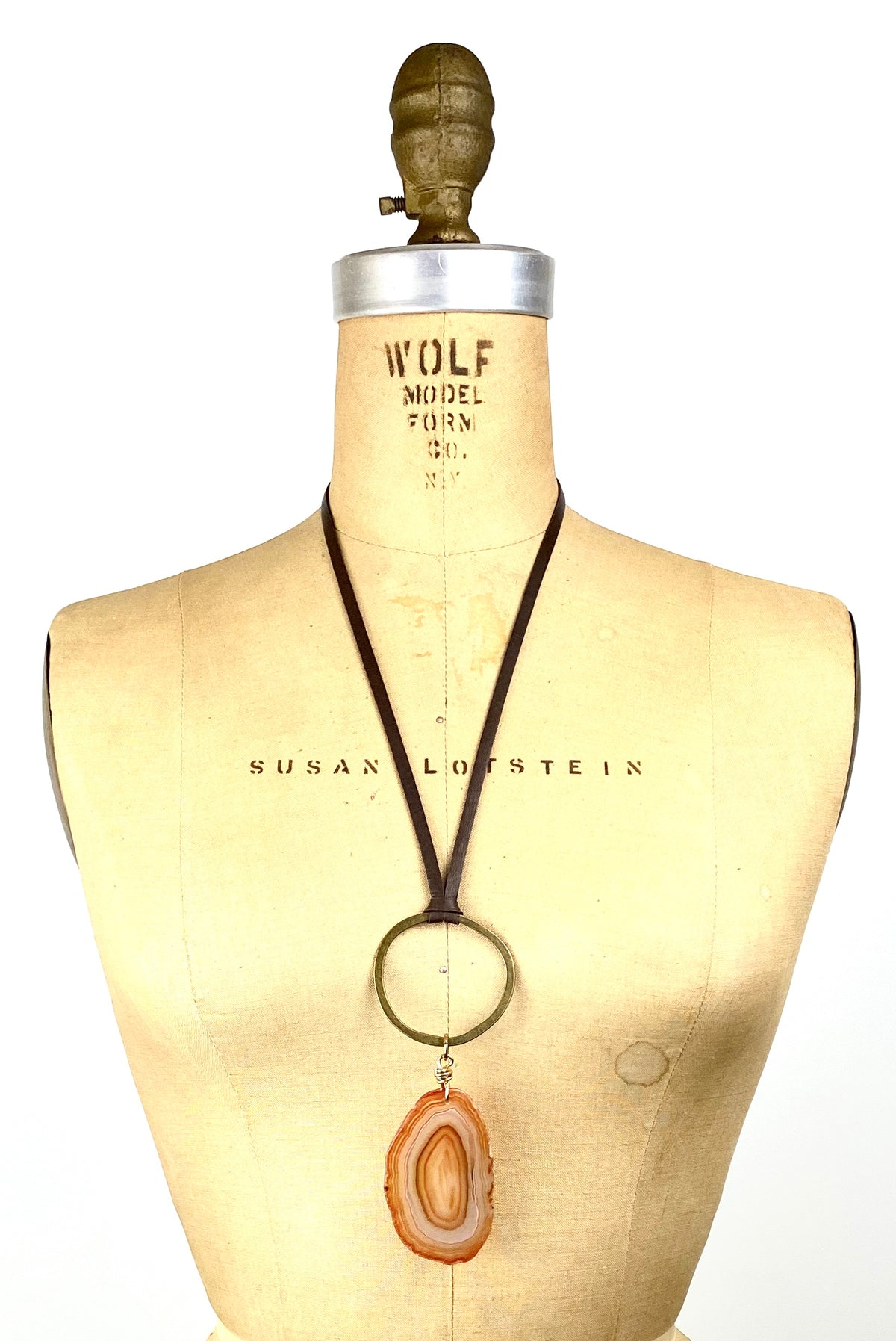 Agate Slice - Bronze Circle Leather Necklace