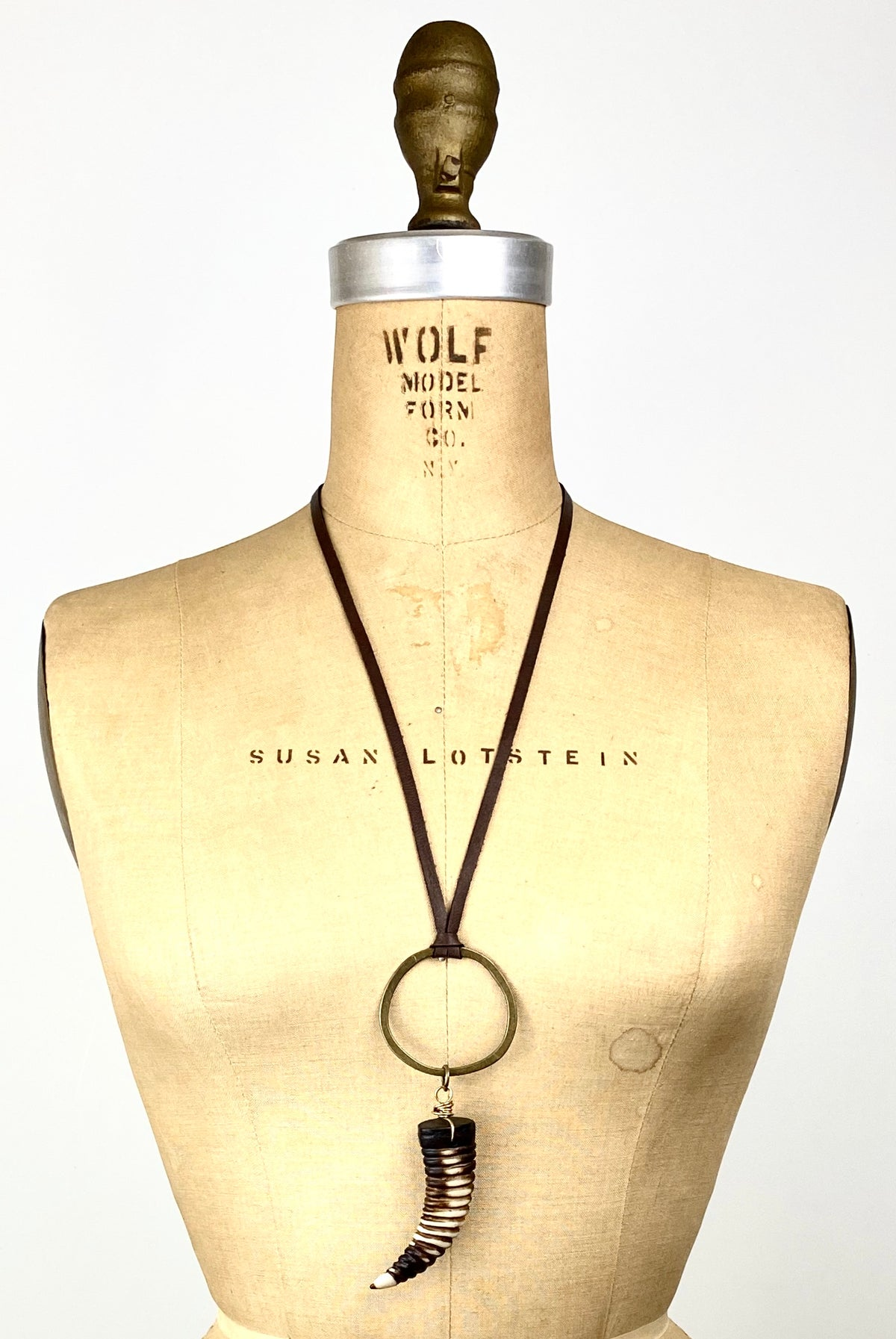 Bone Horn - Bronze Circle Leather Necklace