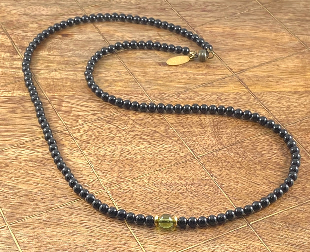 Pyrite Sun Necklace - Faceted Black Onyx