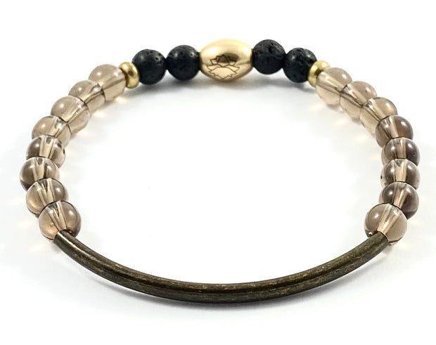 Bronze Curve Diffuser Stretch Bracelet - 6mm