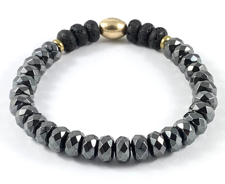 Faceted Hematite Rondelle Diffuser Stretch Bracelet