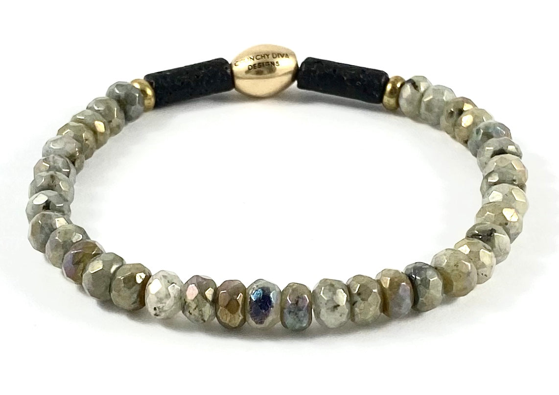 Electroplated Labradorite Diffuser Stretch Bracelet - 6mm