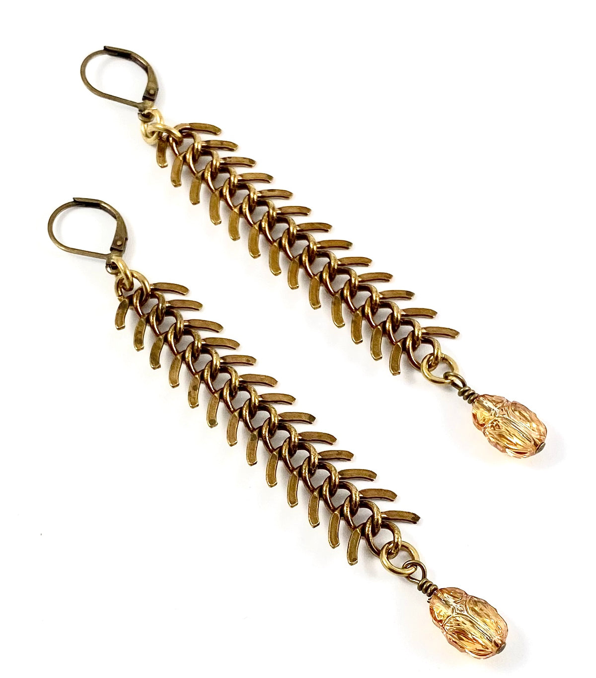 Brass Fishbone Earrings - Scarab