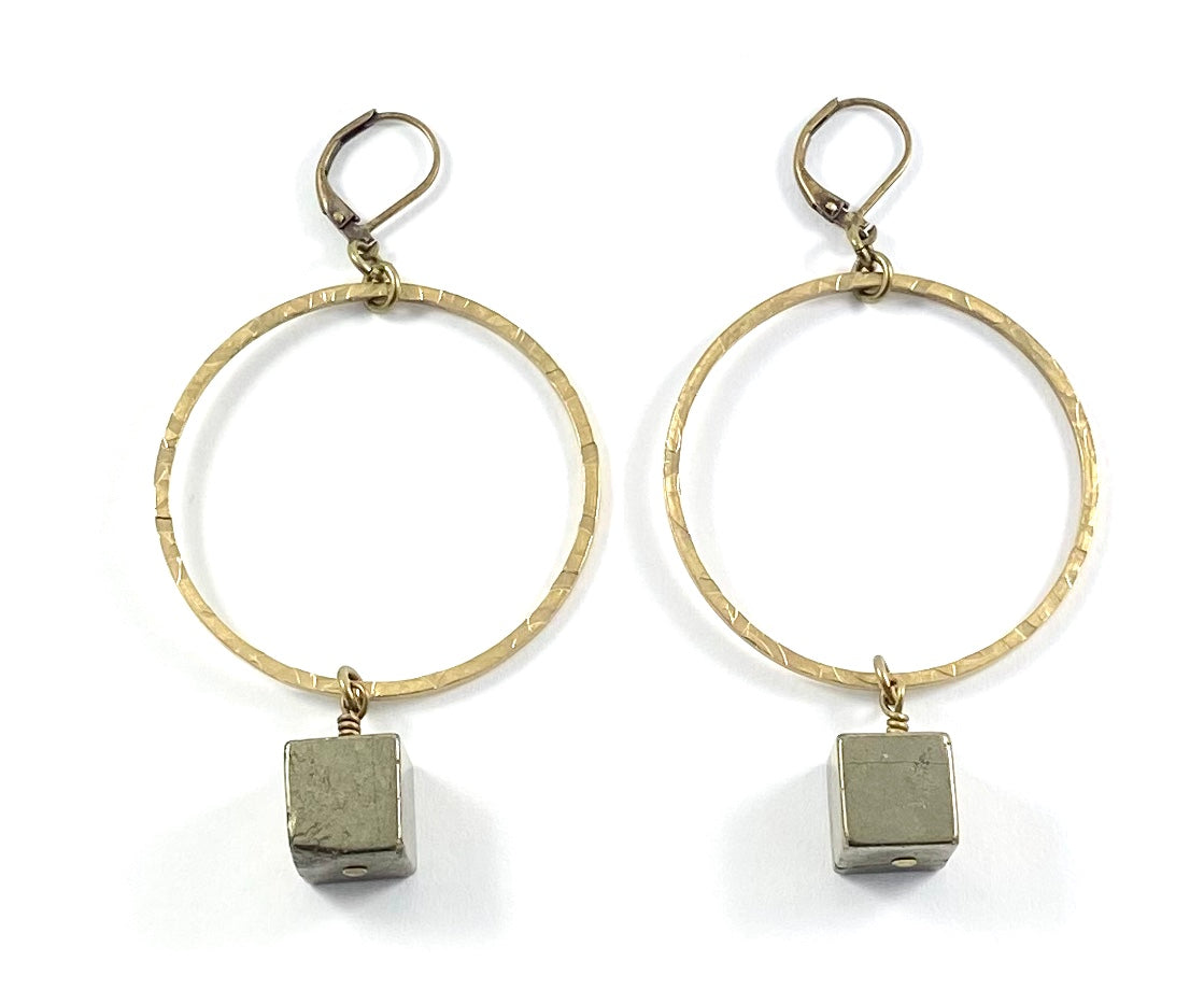 Pyrite Cube & Brass Circle Earrings