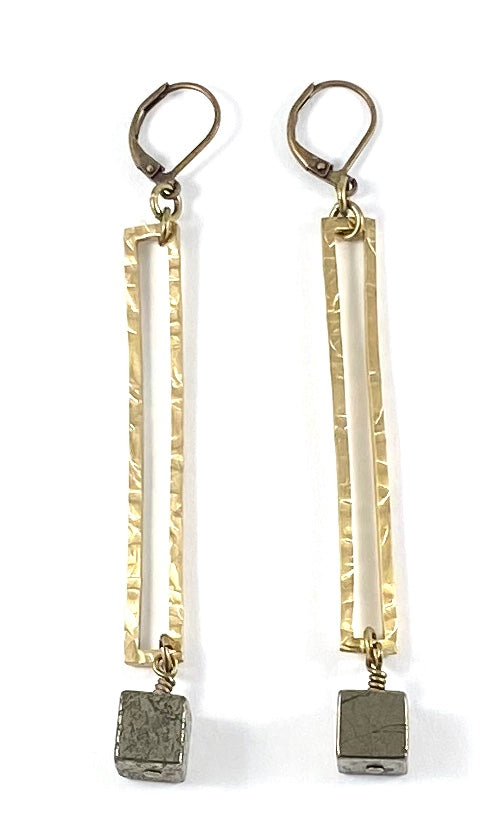 Pyrite Cube Rectangular Earrings
