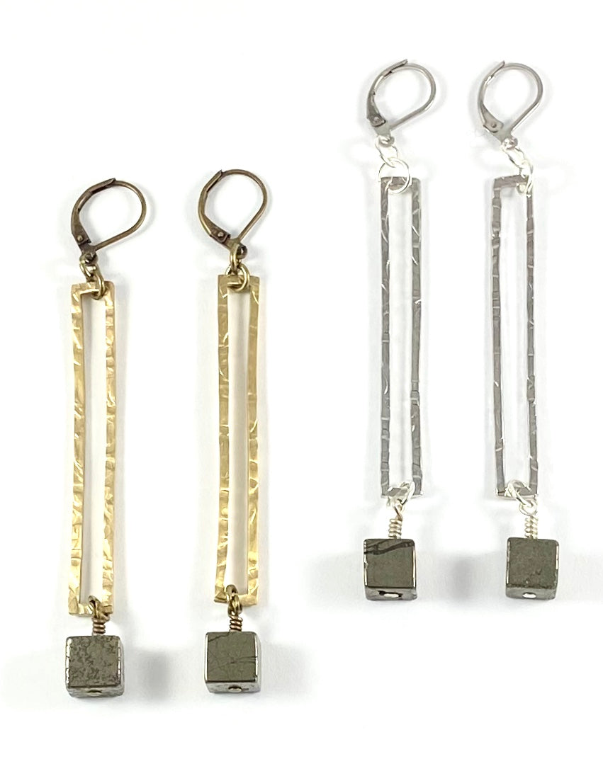 Pyrite Cube Rectangular Earrings - Silver