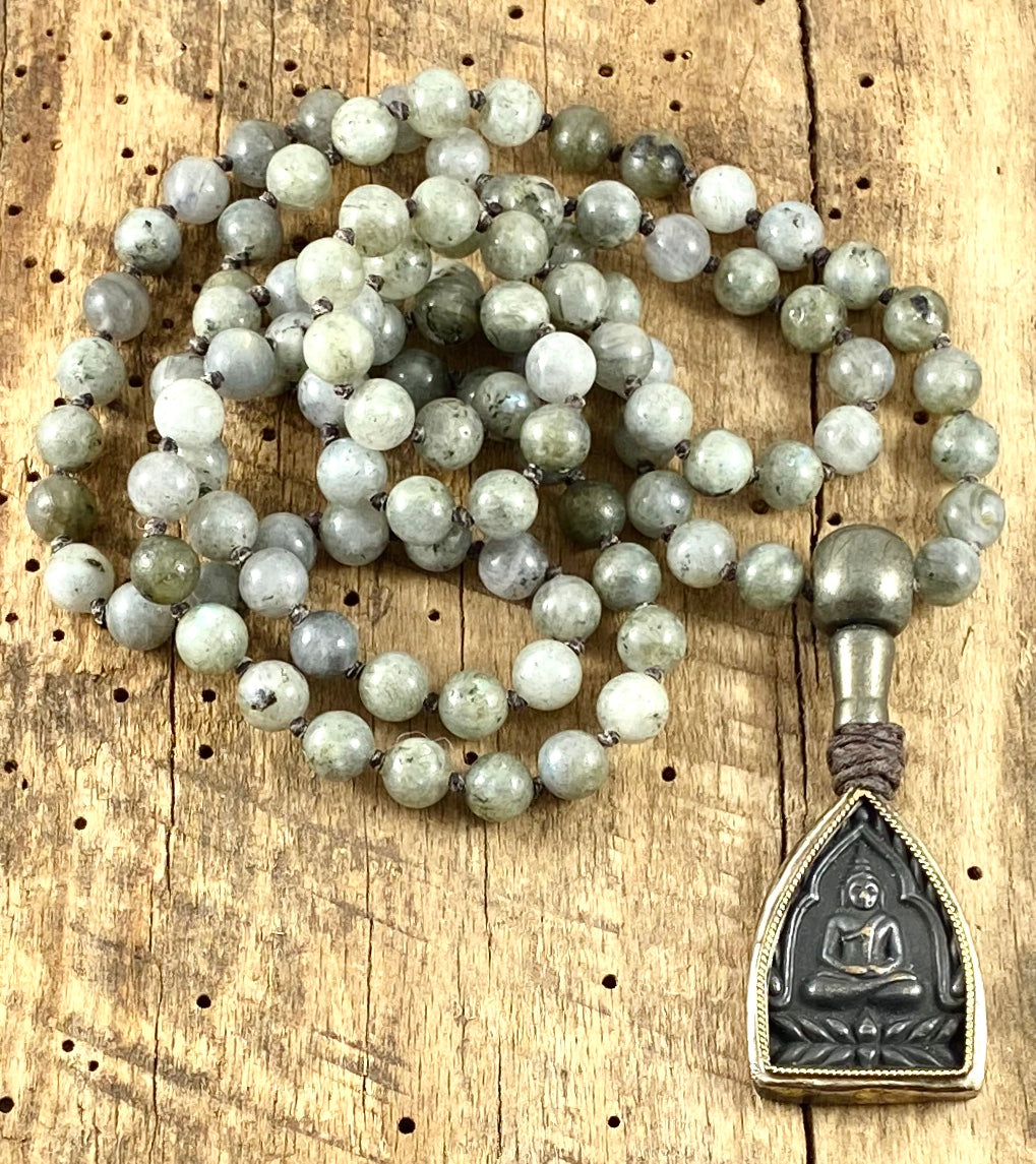 Semi-Precious Stone Mala Necklace - 8mm Labradorite