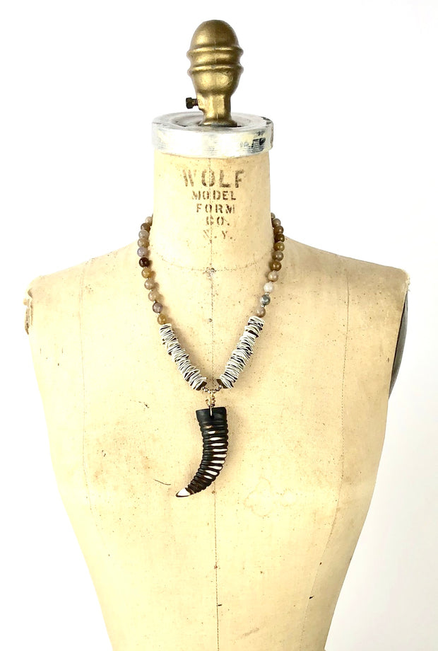 Sale OOK Brown Agate and Shell with Horn Pendant Necklace