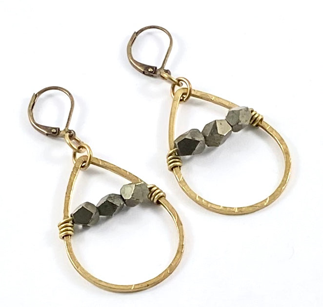 Pyrite and Brass Teardrop Earrings