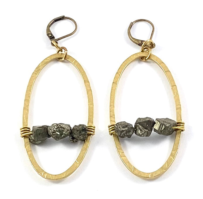 Pyrite Nugget & Brass Oval Earrings