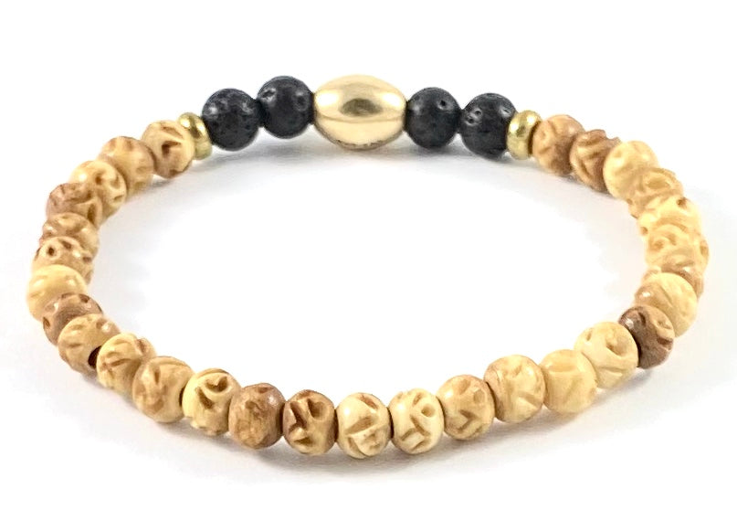 Carved Bone Diffuser Stretch Bracelet - 6mm