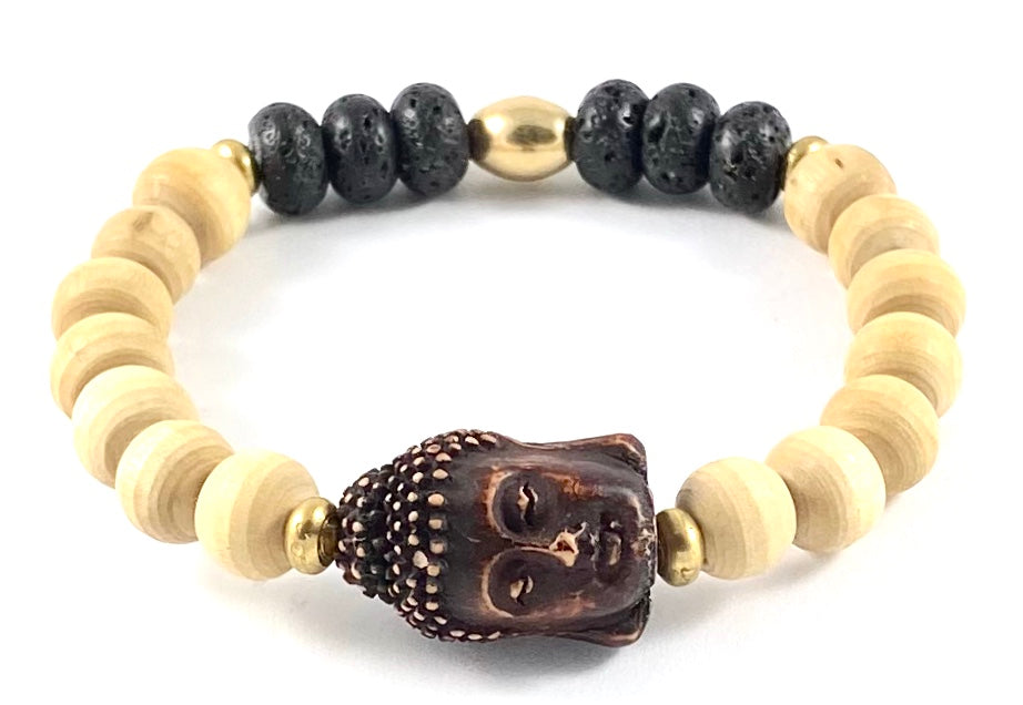 Buddha Head Diffuser Stretch Bracelet - Tulasi Wood 10mm