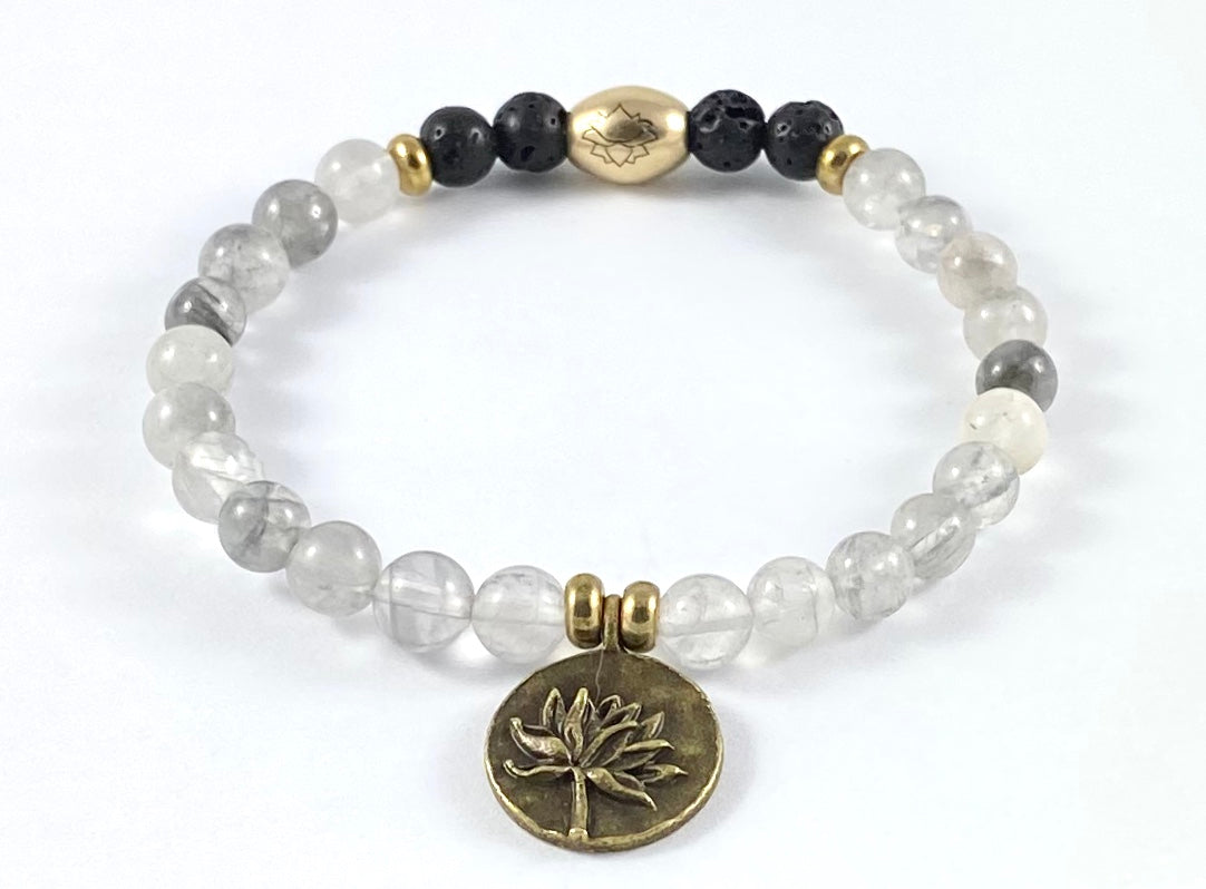 Lotus Charm Diffuser Stretch Bracelet - 6mm
