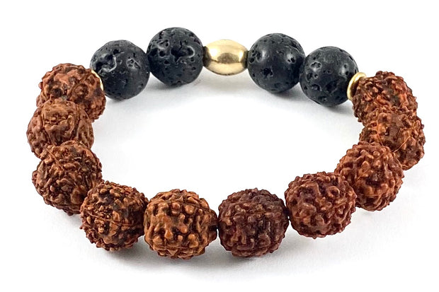 Rudraksha Diffuser Stretch Bracelet - 12mm