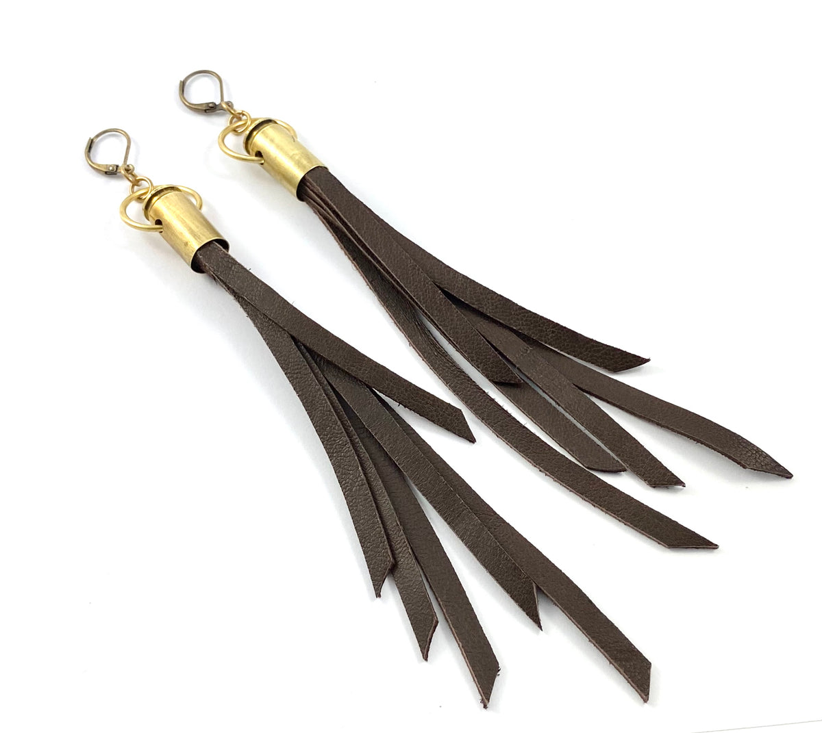 Casing Leather Tassel Earrings