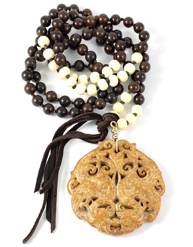 Sale Wood Mala With Carved Jade- Tan Pendant