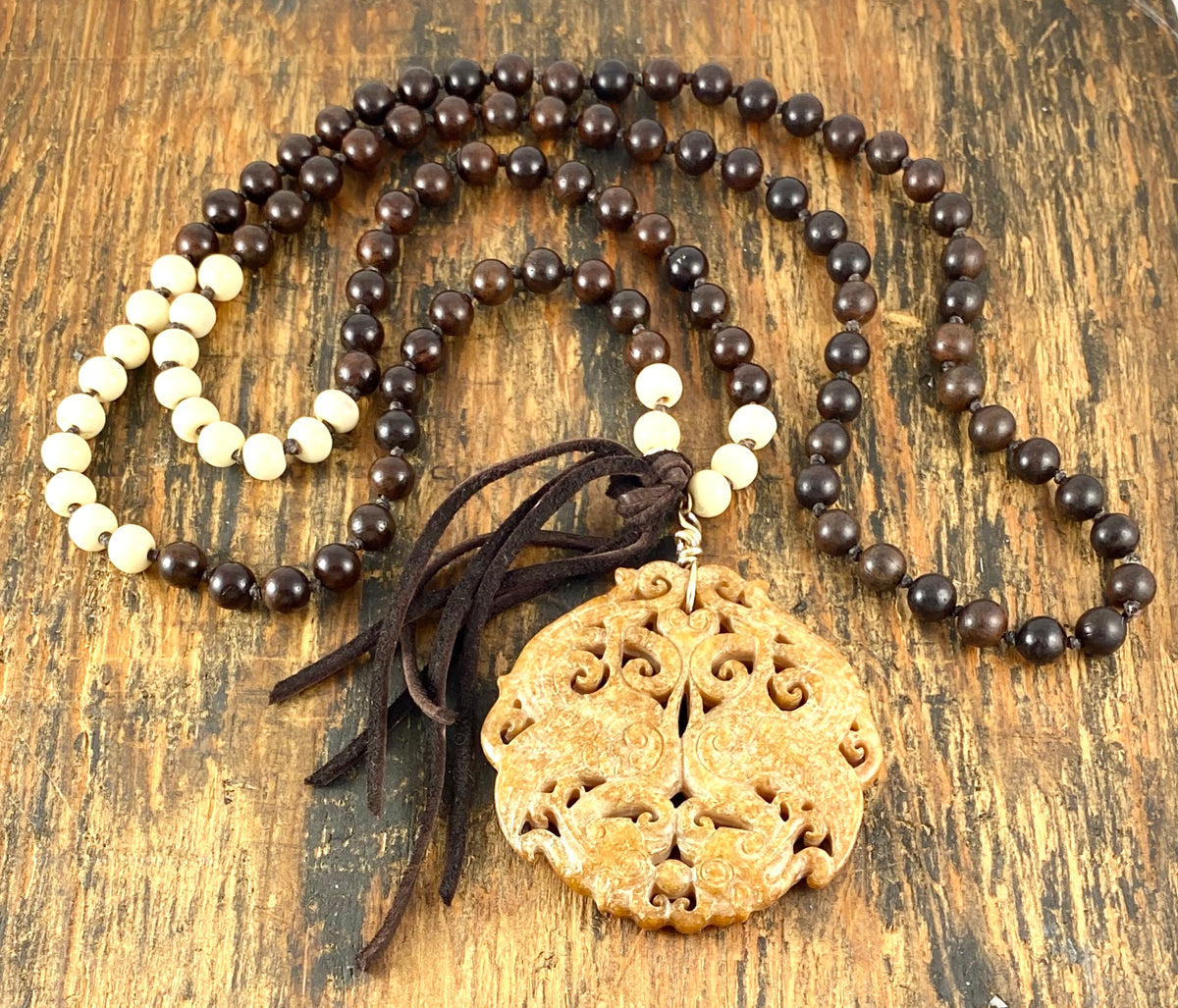 Wood Mala With Carved Jade- Tan Pendant