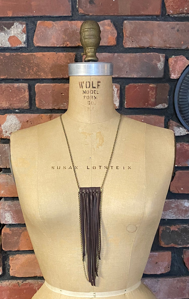 Leather Fringe Necklace with Chain Drop