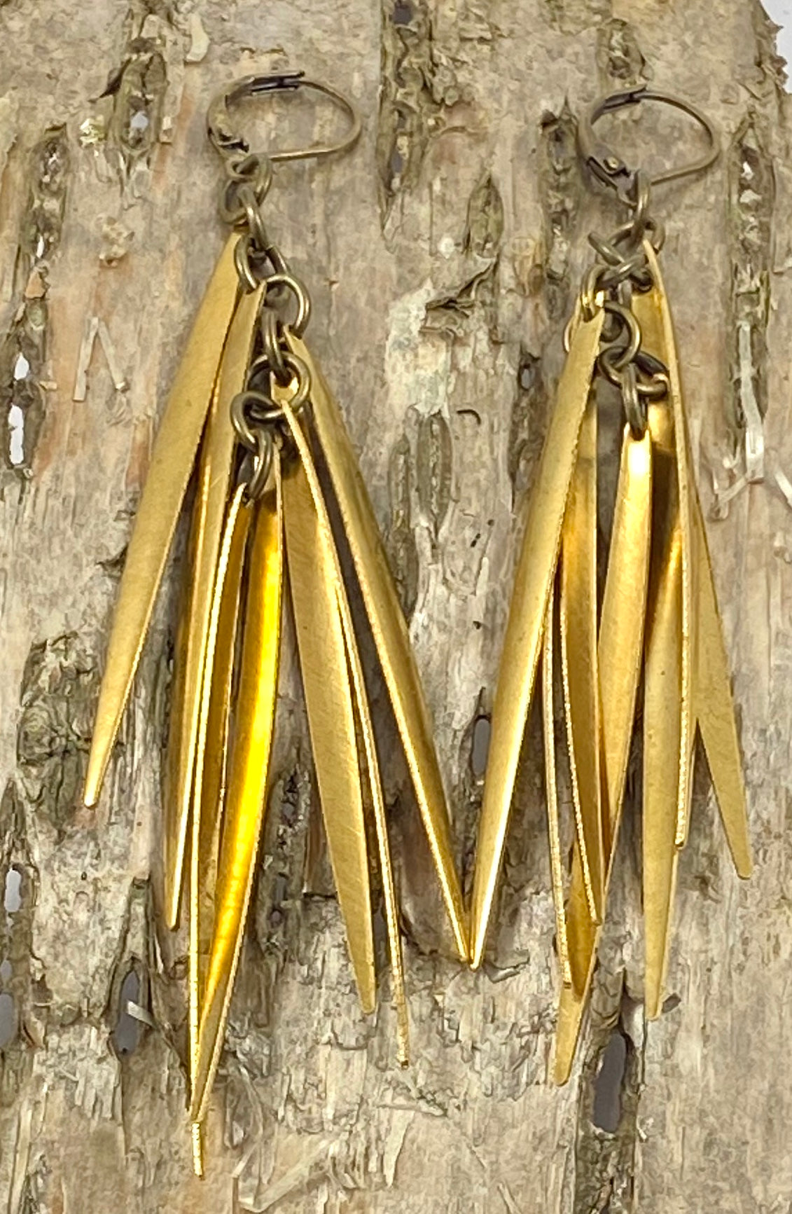 Brass Dagger Fringe Earrings