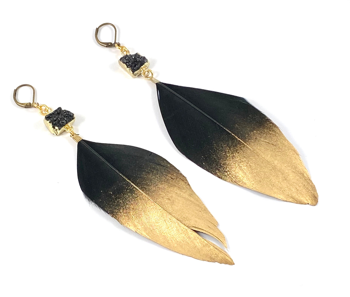 Gold Dipped Duck Feather Earrings