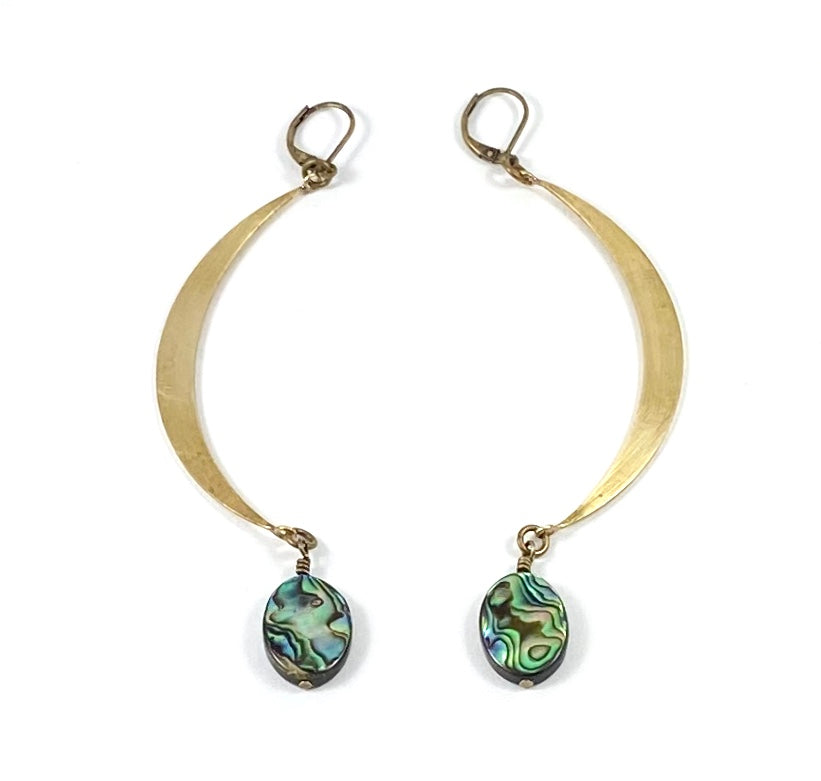 Large Crescent Moon Earrings - Brass