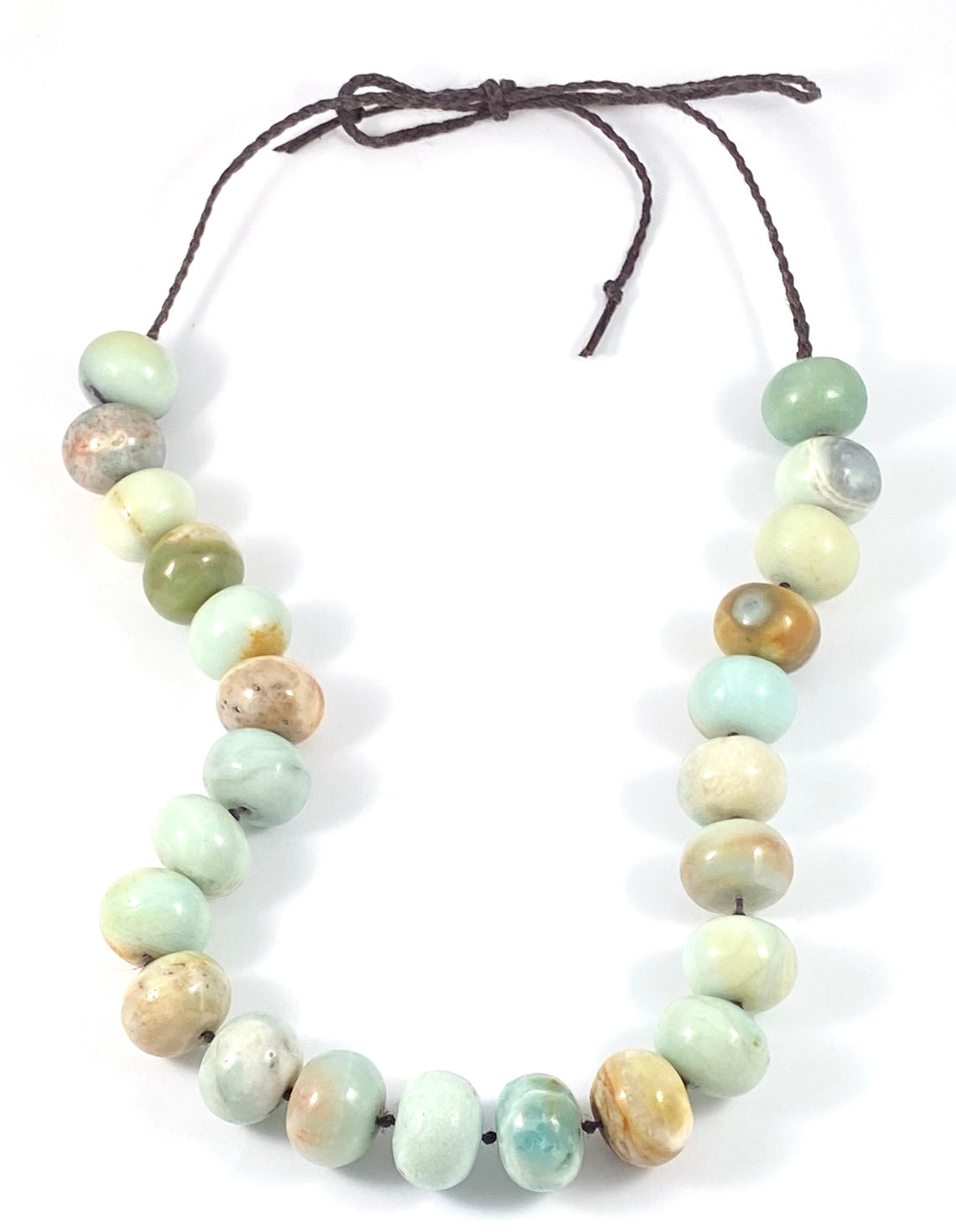 Big Bead Rondelle Semi-Precious Stone Necklace