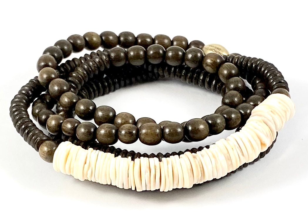Natural Wooden Beaded Stretch Wrap