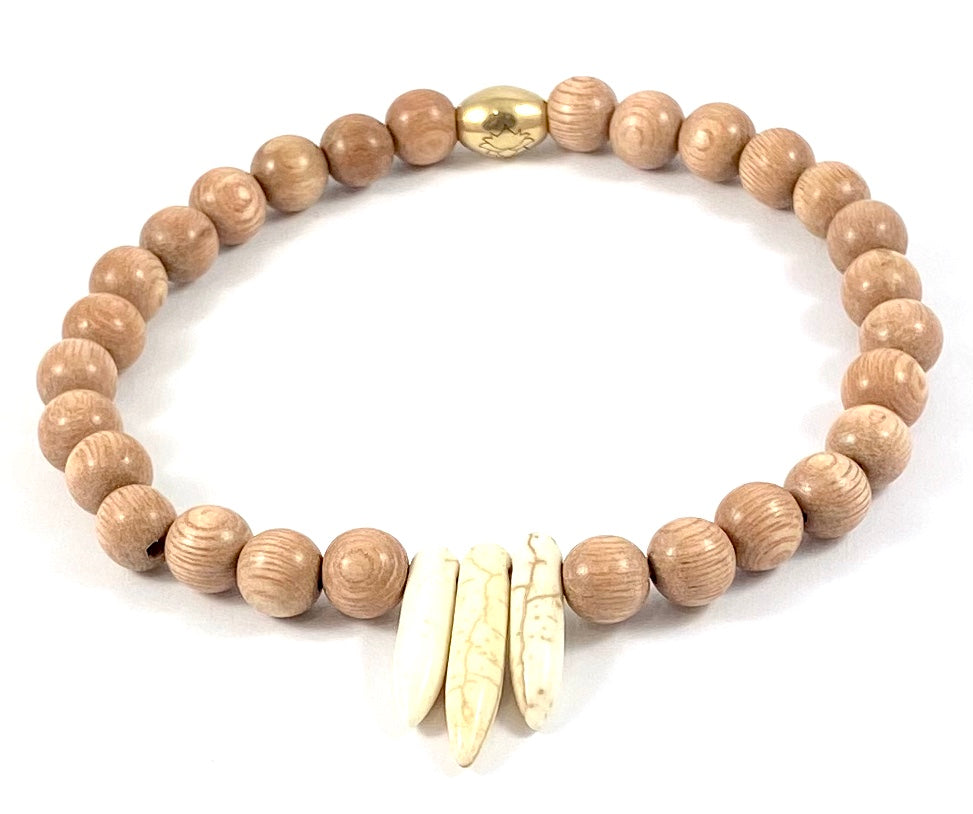 Wood Beaded Stretch Ankle Bracelet - 8MM