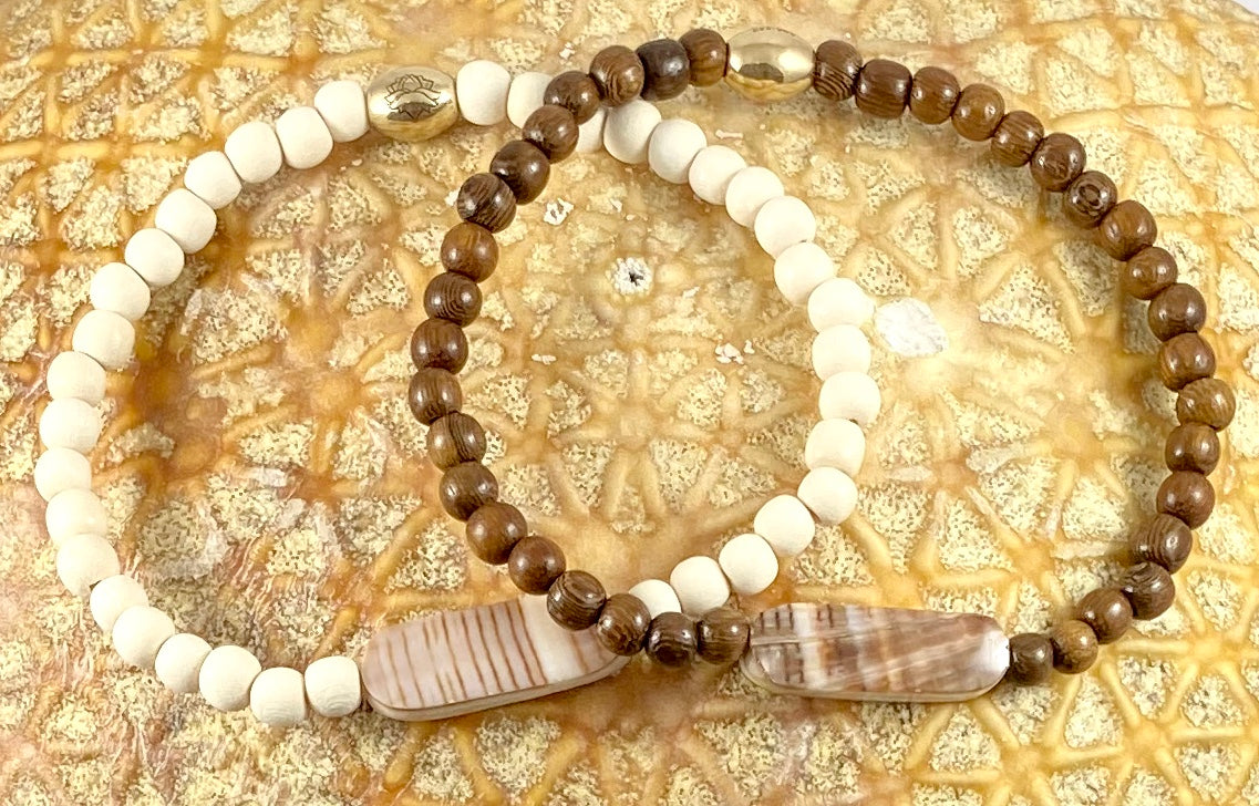 Wood Beaded Stretch Ankle Bracelet - 6MM