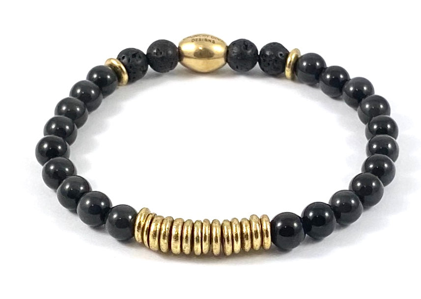 Brass Rondelle Diffuser Stretch Bracelet - 6mm