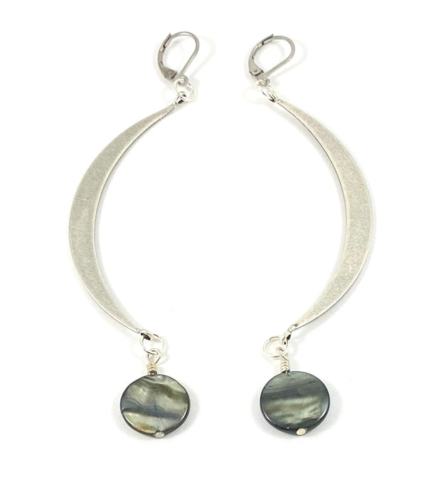 Large Crescent Moon Earrings - Silver