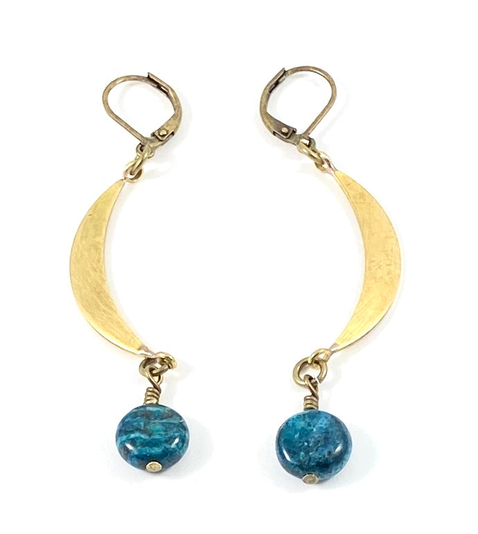 Small Crescent Moon Earrings - Brass