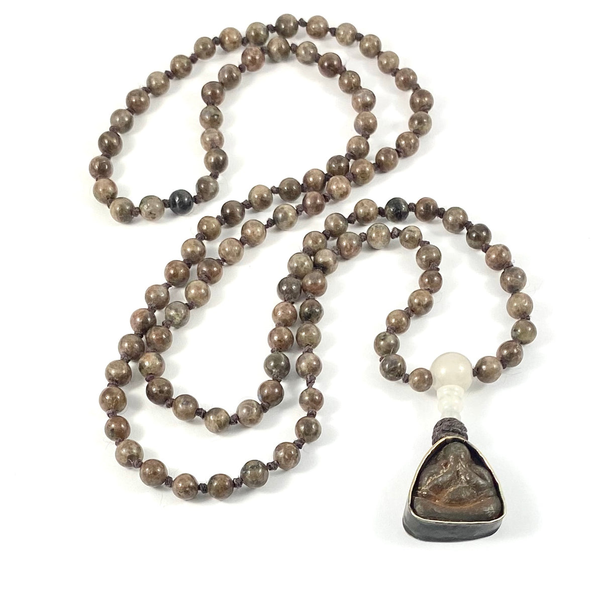 Semi-Precious Stone Mala Necklace - 6mm Brown Labradorite