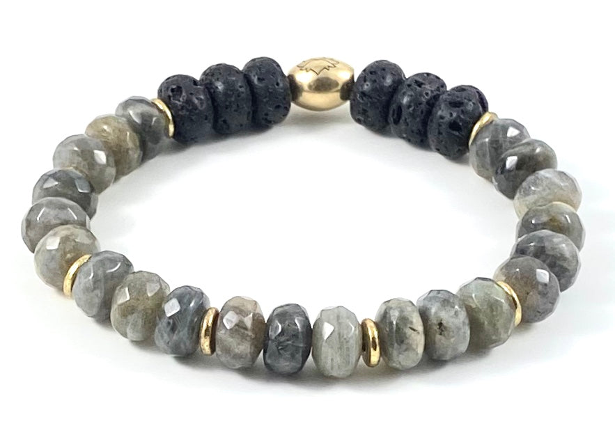 Faceted Rondelle Diffuser Stretch Bracelet - 10mm