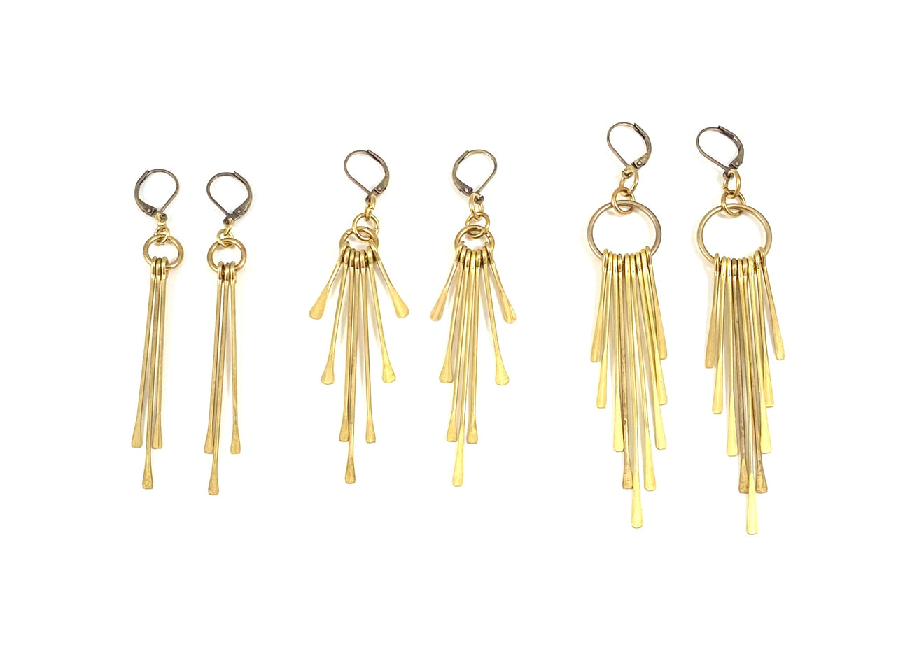 Brass Paddle Fringe Earrings