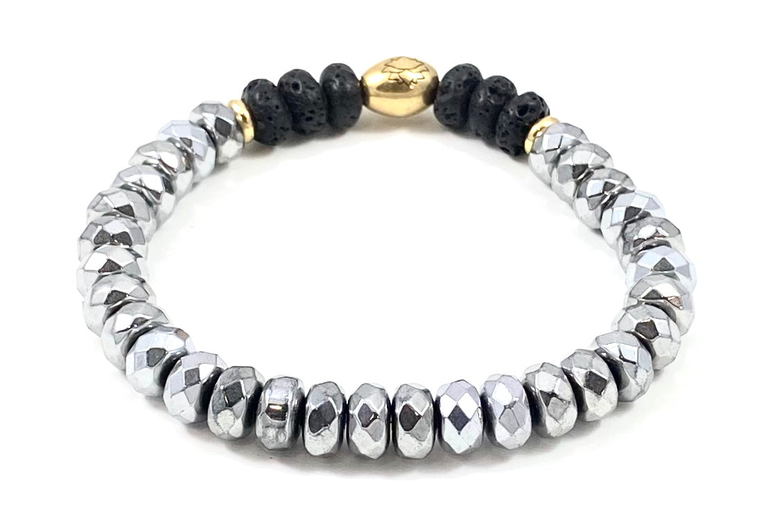 Faceted Silver Hematite Rondelle Diffuser Stretch Bracelet - 8mm