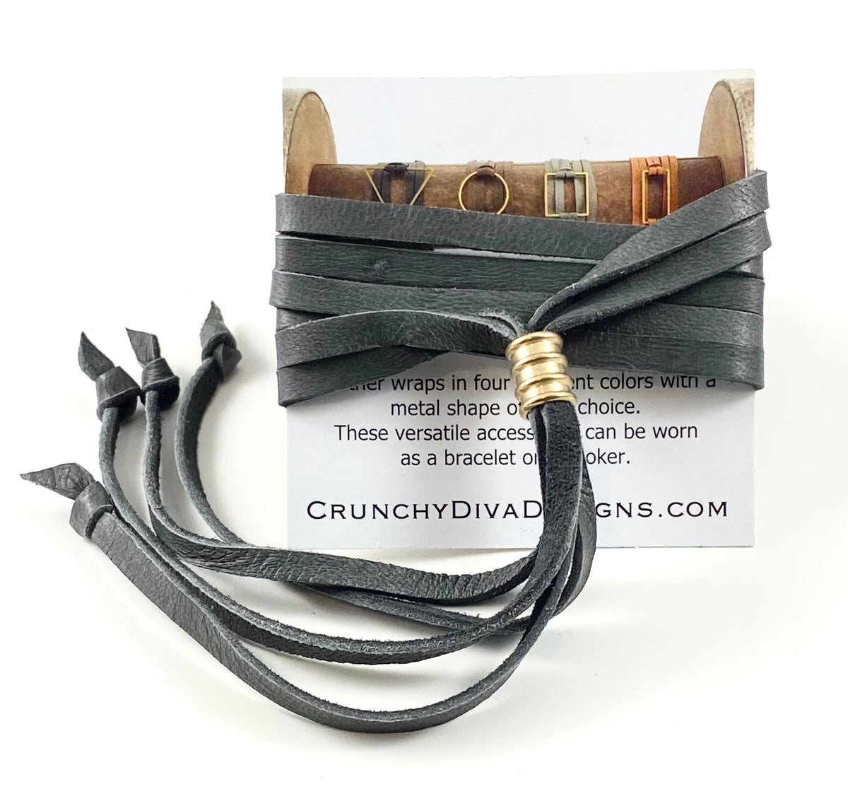 Grey Leather Wrap - 5mm