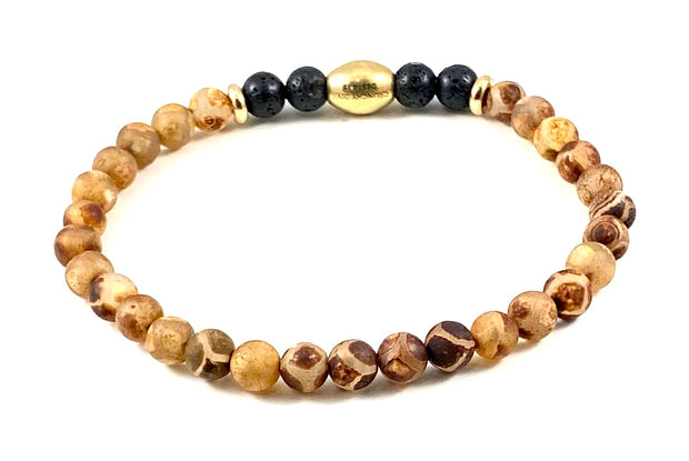 Men's Semi-Precious Diffuser Stretch Bracelet - 6mm