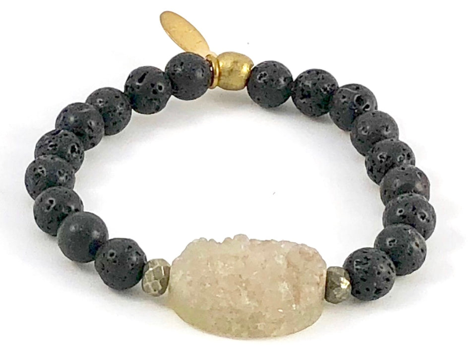 Druse and Lava Stone Diffuser Stretch Bracelet - 8mm