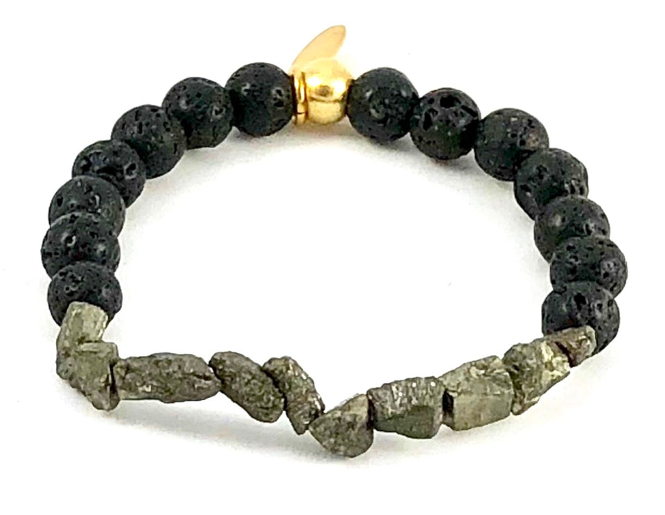 Pyrite Nugget and Lava Stone Diffuser Stretch Bracelet - 8mm