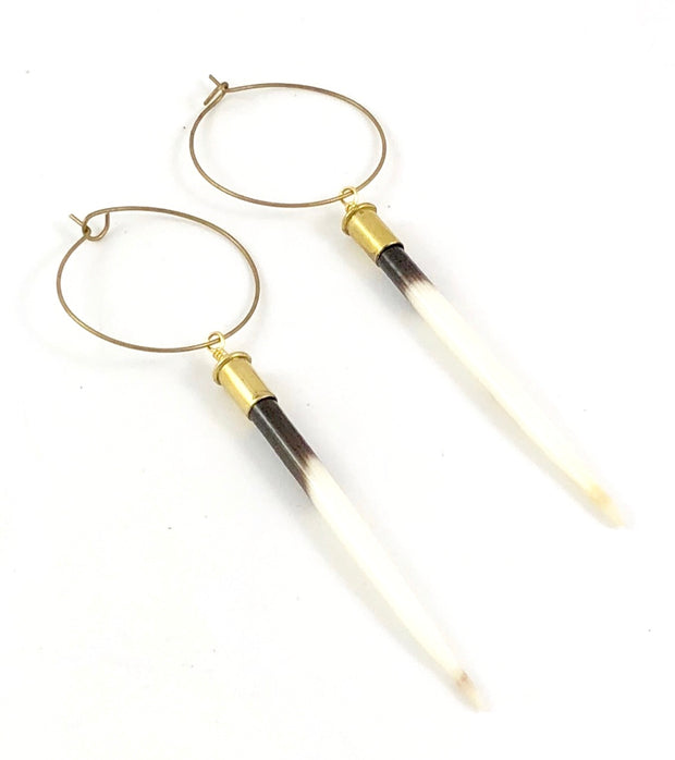 African Porcupine Quill Earrings - Brass Hoops