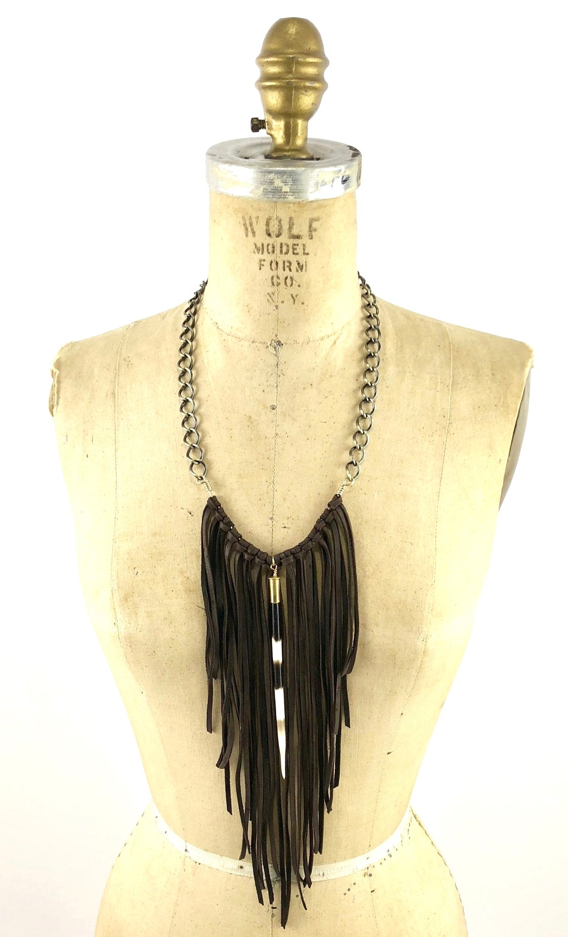 African Porcupine Quill - Leather Fringe Necklace
