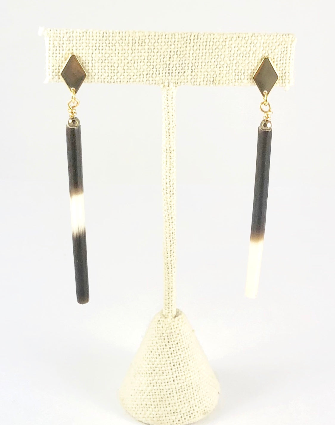 Thin African Porcupine Quill Earrings - Gold Plate Studs