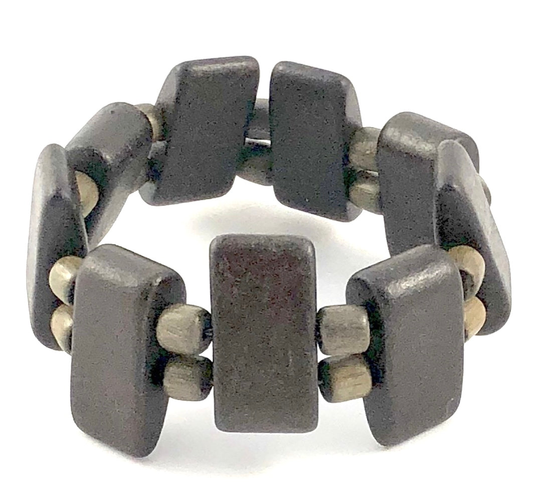 Burnt Umber Ceramic Spike Stretch Bracelet