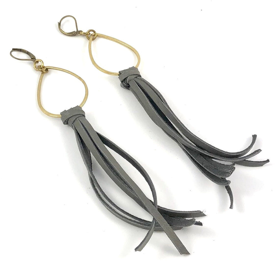 Teardrop Leather Tassel Earrings