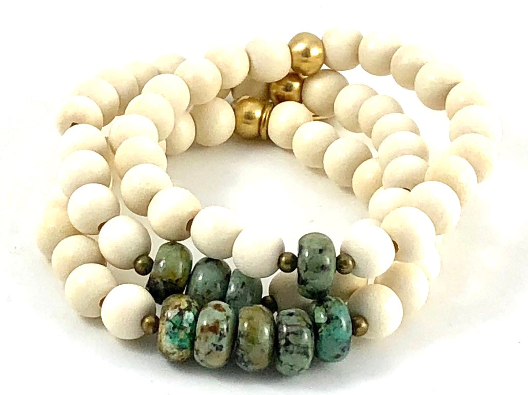 Sale Three Up Stretch Bracelet Set - African Turquoise