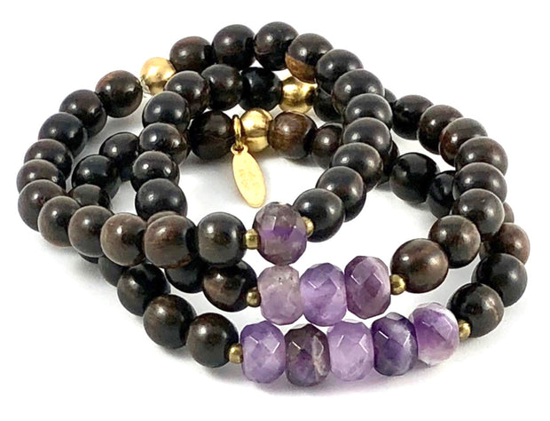 Sale Three Up Stretch Bracelet Set - Faceted Amethyst