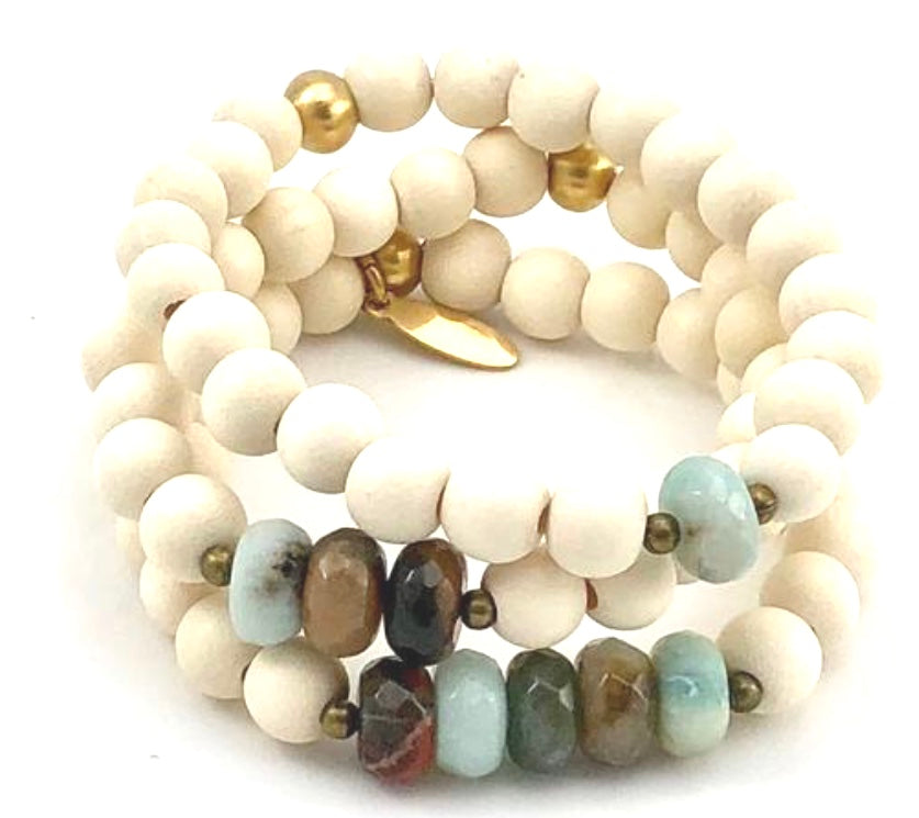 Sale Three Up Stretch Bracelet Set - Faceted Multi-Colored Amazonite