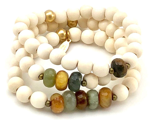 Sale Three Up Stretch Bracelet Set - Faceted Multi-Colored Jade